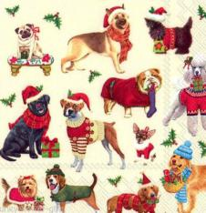 4 x Paper Napkins Christmas Dogs