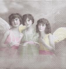 4 x Paper Napkins Angel Girls