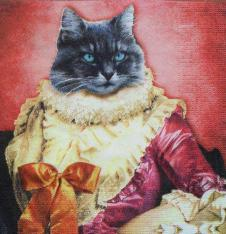 4 x Paper Napkins Royal Cat in red