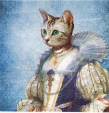 4 x Paper Napkins Royal Cat in blue