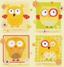 4 x Paper Napkins Funny Yellow Owls