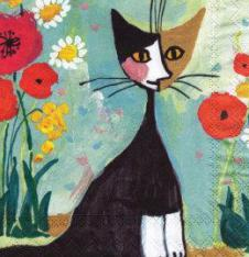 4 x Paper Napkins Black Cat