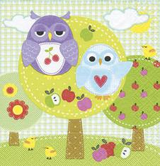 4 x Paper Napkins Funny Owls in Tree