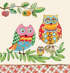 4 x Paper Napkins Two Funny Owls