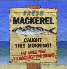 4 x Paper Napkins Fresh Mackerel