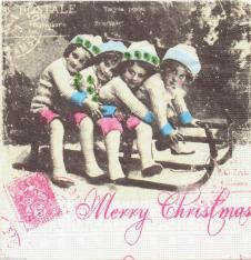 4 x Paper Napkins Vintage Merry Christmas Card